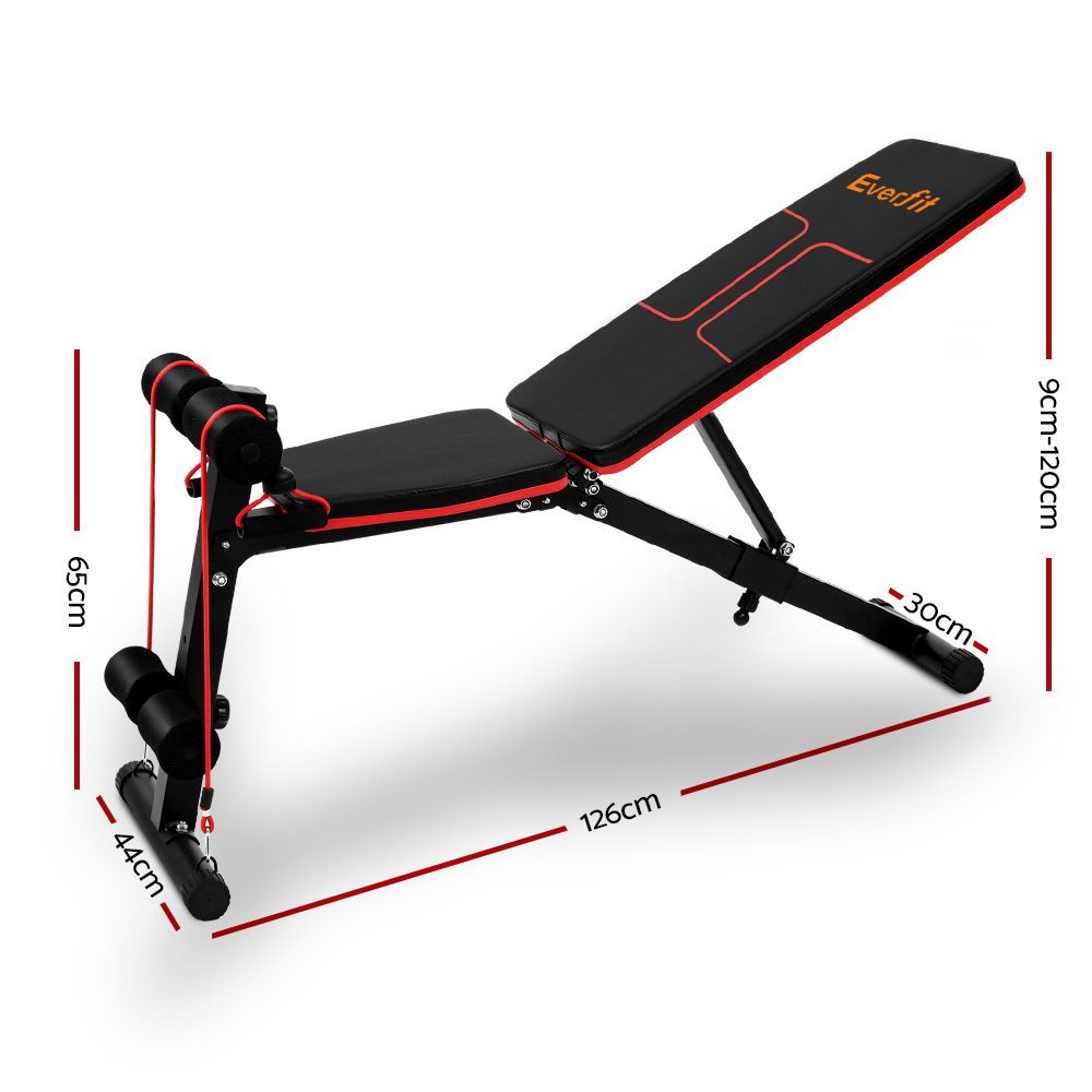 Everfit Adjustable FID Weight Bench Fitness Flat Incline
