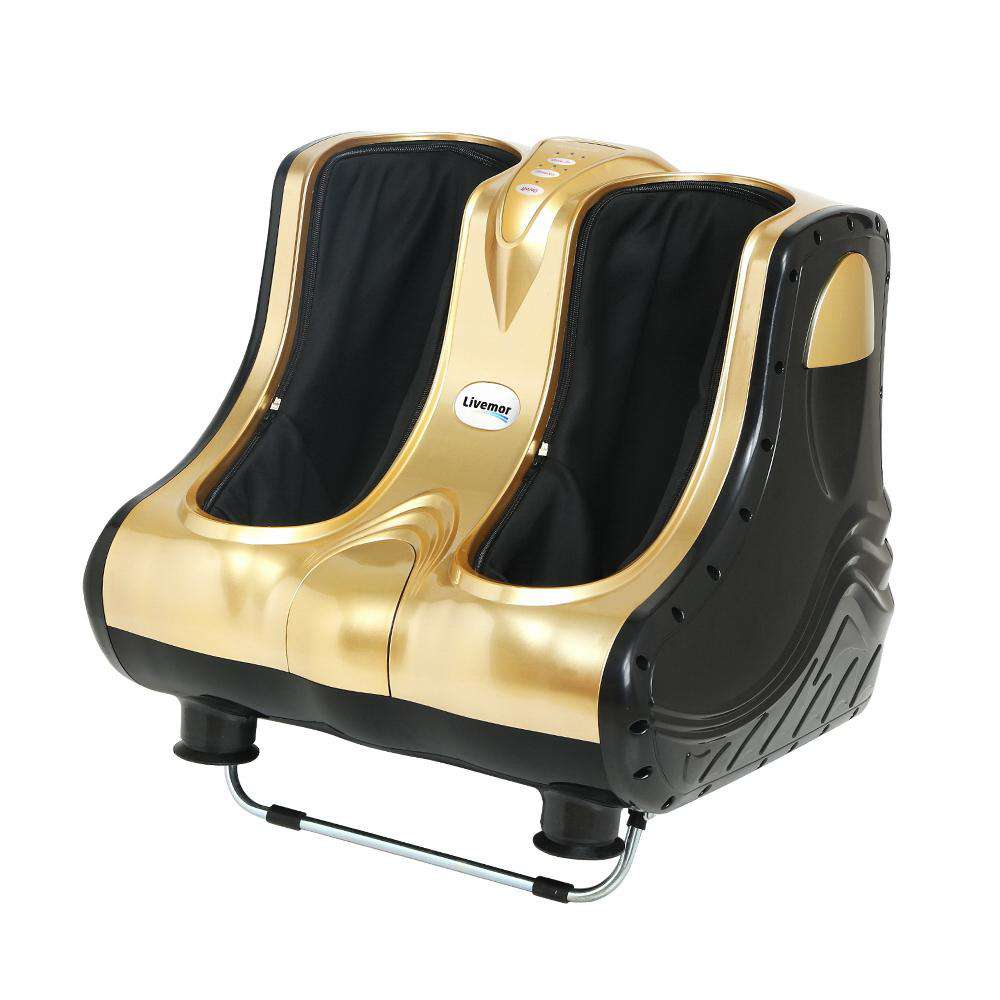 Livemor 3D Foot Massager Machine Ankle Calf Leg Shiatsu Kneading Rolling Gold
