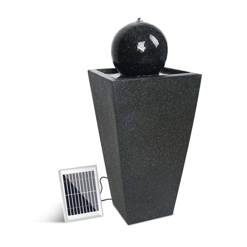 Fountain Ball with Solar Panel Black