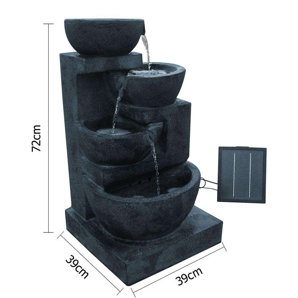 Solar Power Four-Tier Water Fountain Feature w/ LED Light Blue - Desirable Home Living