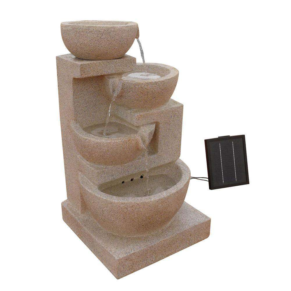 Solar Power Four-Tier Water Fountain Feature w/ LED Light Sand Beige