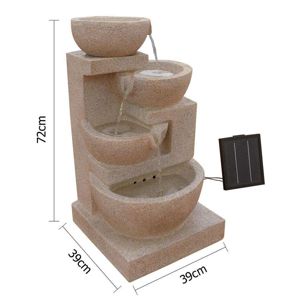 Solar Power Four-Tier Water Fountain Feature w/ LED Light Sand Beige - Desirable Home Living