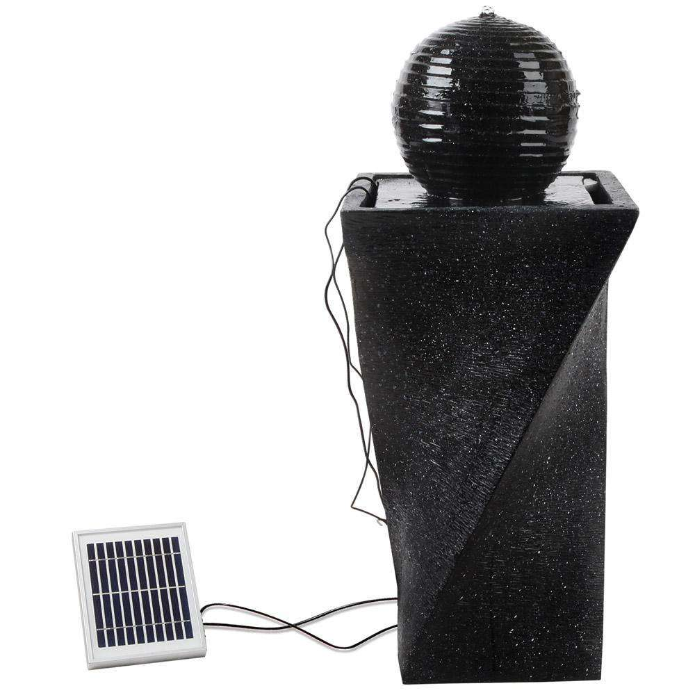 Solar Fountain Twist Design with LED Lights - Desirable Home Living