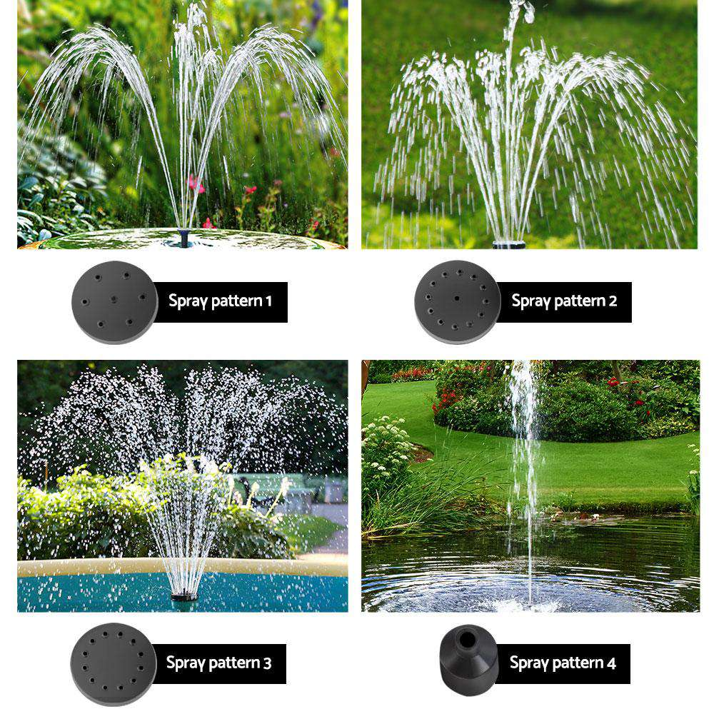 Gardeon 30W LED Lights Solar Fountain with Battery Outdoor Fountains Submersible Water Pump