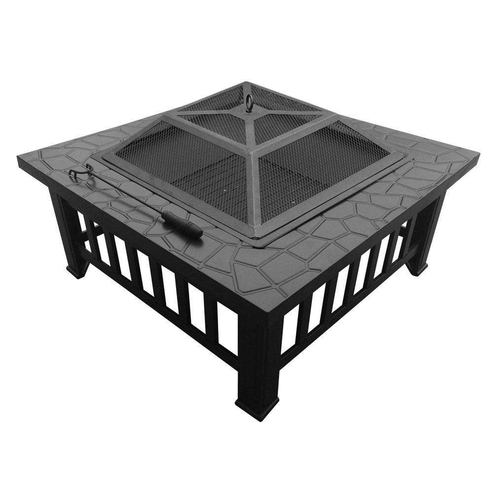 Outdoor Fire Pit BBQ Table Grill Fireplace Stone Pattern - Desirable Home Living
