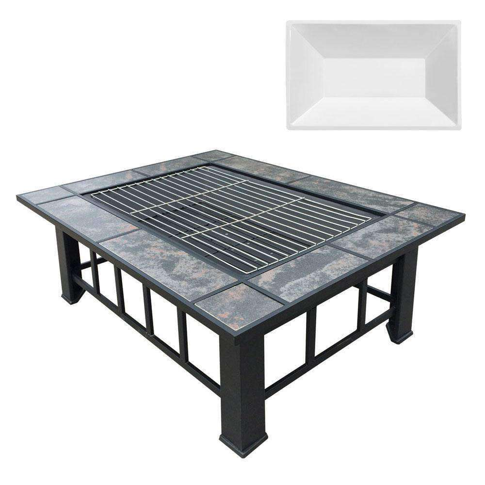 Outdoor Fire Pit BBQ Table Grill Fireplace w/ Ice Tray