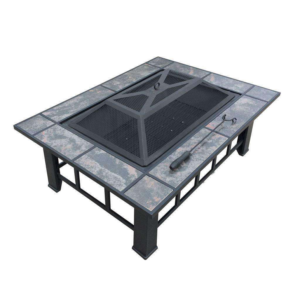 Outdoor Fire Pit BBQ Table Grill Fireplace w/ Ice Tray - Desirable Home Living