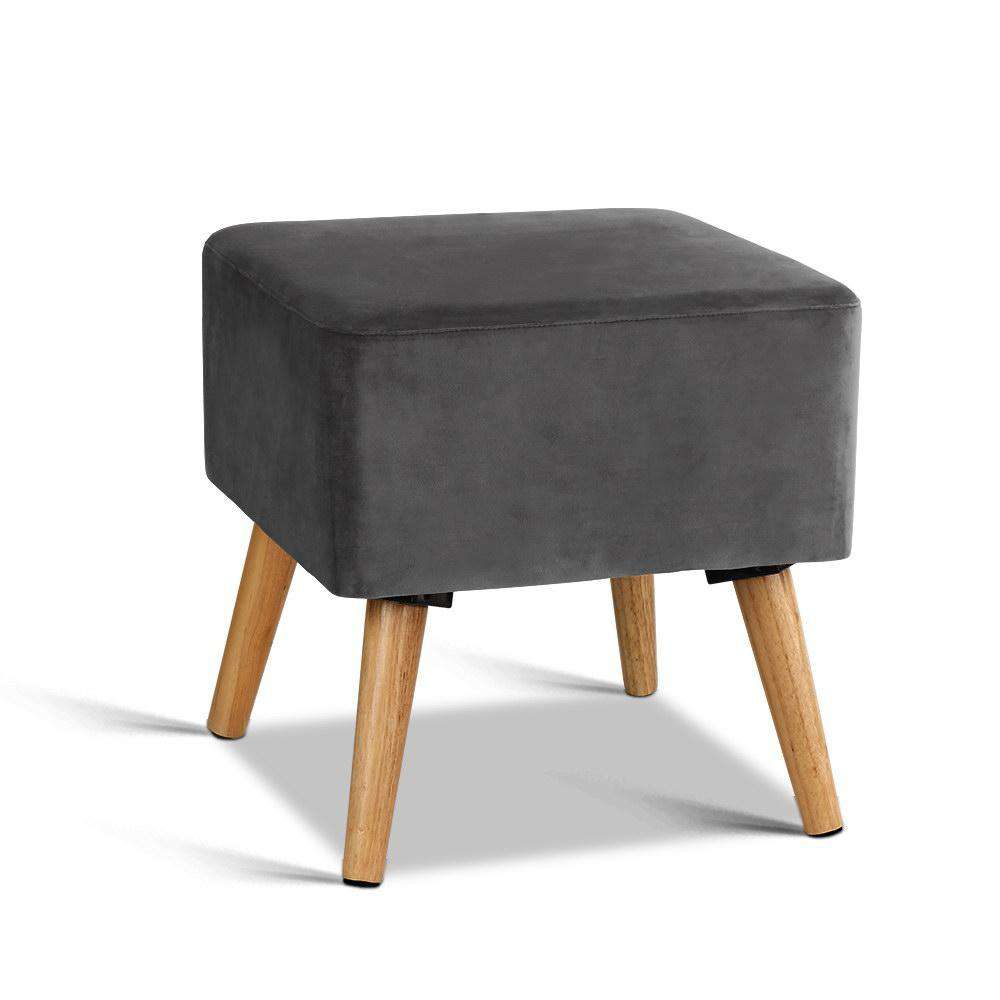 Artiss Velvet Footstool- Dark Grey