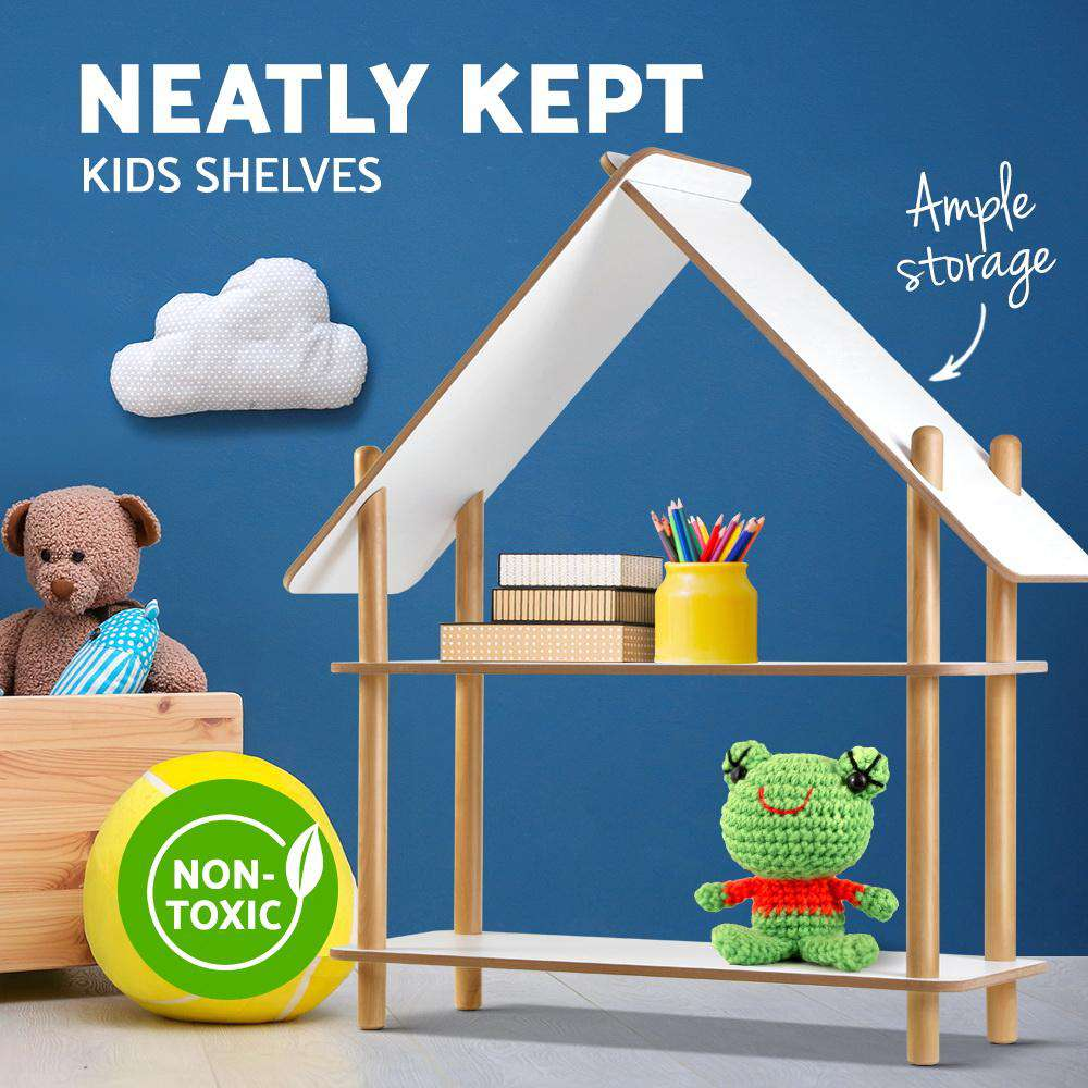 Artiss Kids Cabin Rack Display Shelf Children Bookshelf 2 Tier