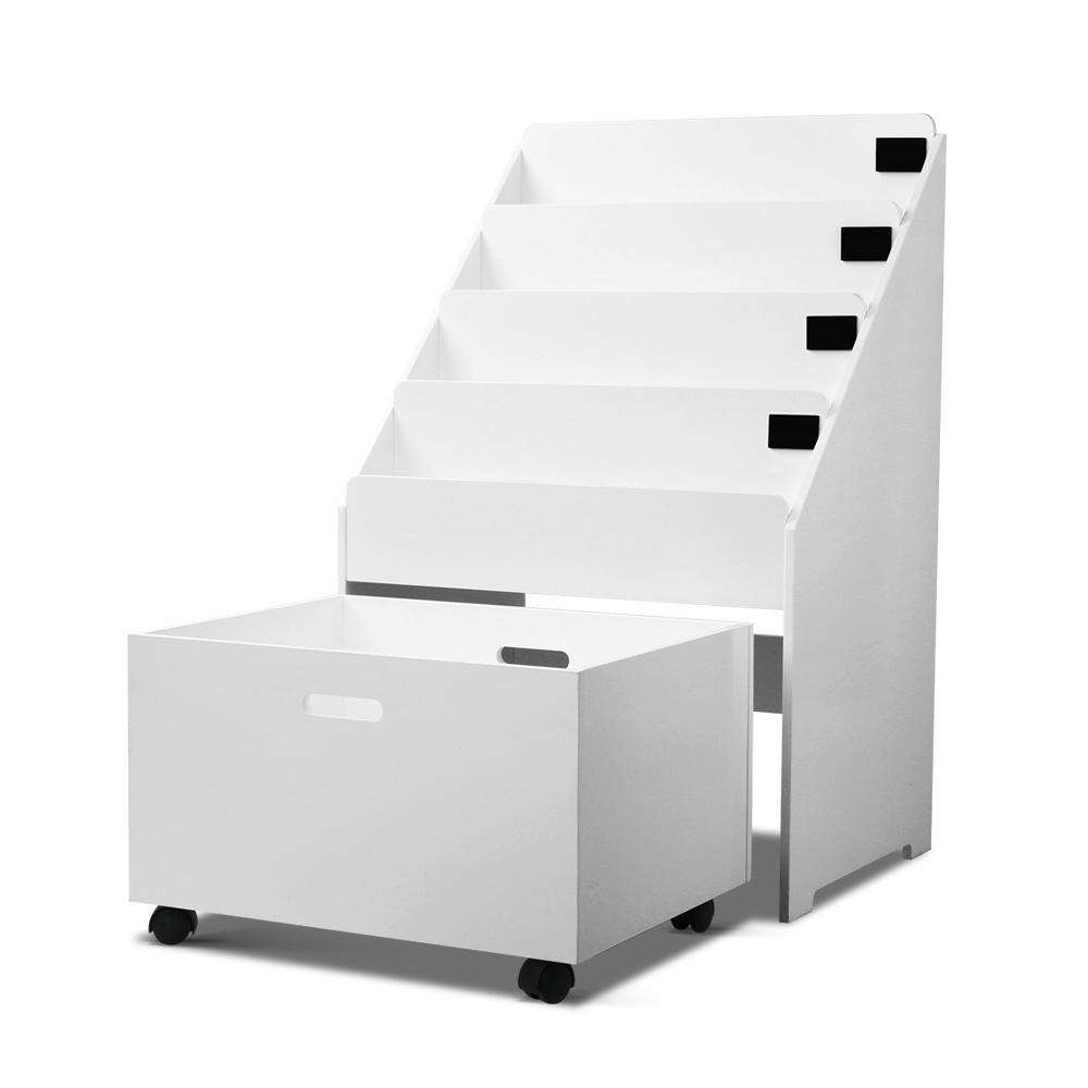 Kids Bookshelf with Drawer White - Desirable Home Living