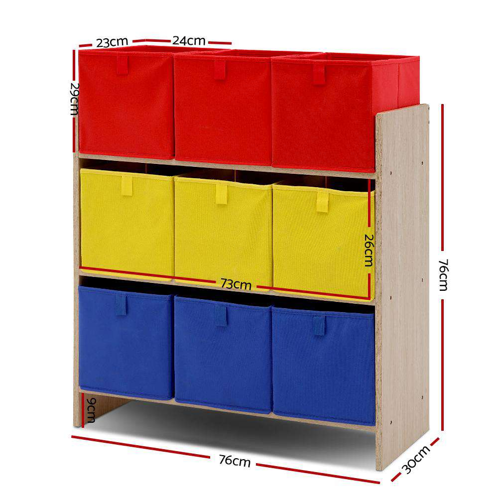 Artiss Kids Storage Box Children Toys Organizer Bookcase Fabric 9 Bins
