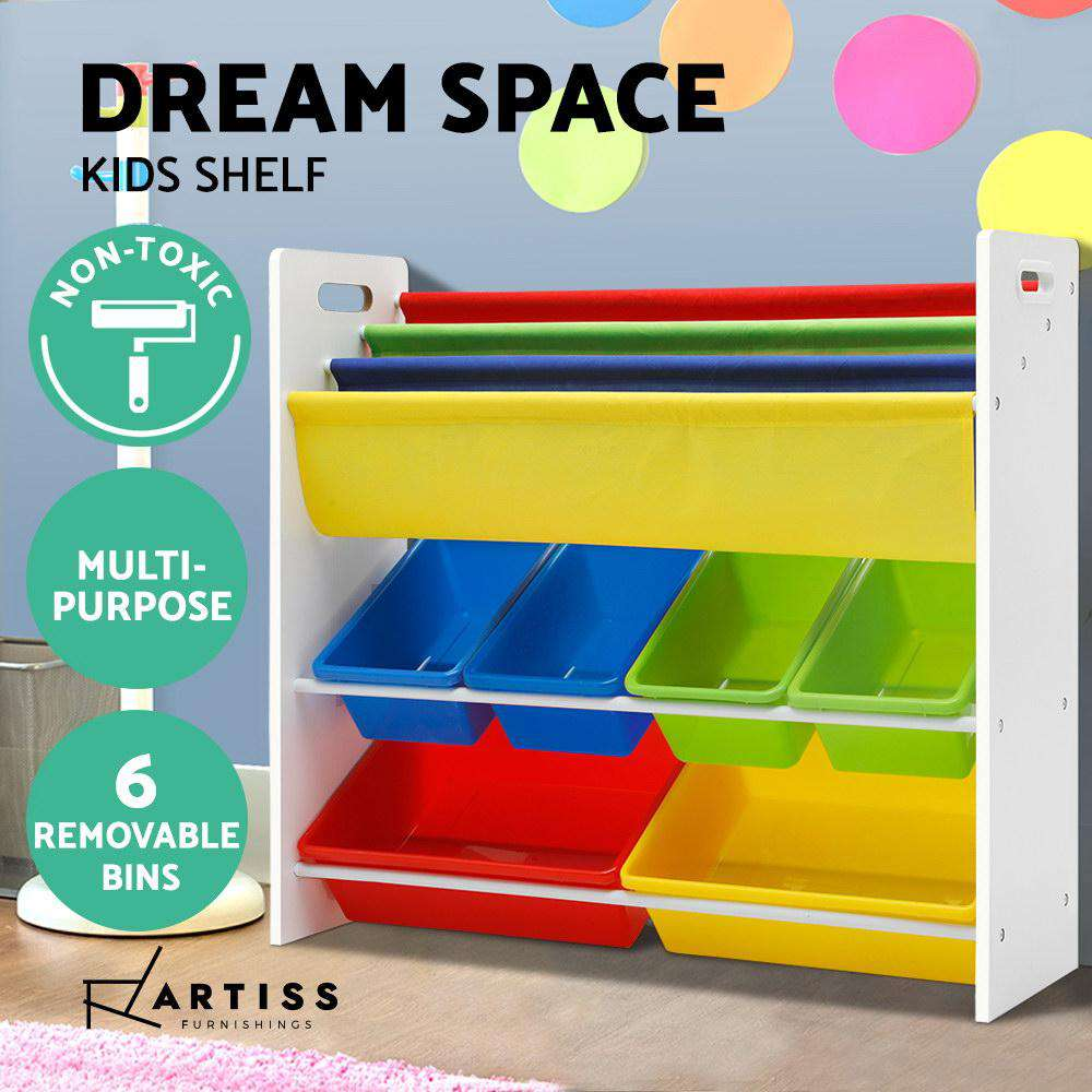 Artiss Kids Bookshelf Toy Storage Box Organizer Bookcase 3 Tiers