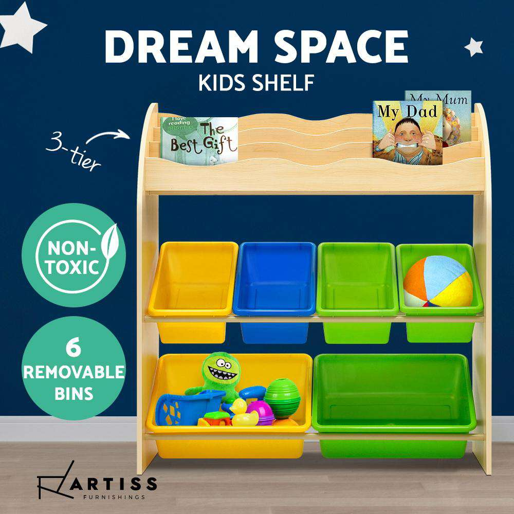 Artiss Kids Bookshelf Toy Box Bin Organizer Children Bookcase 3 Tiers