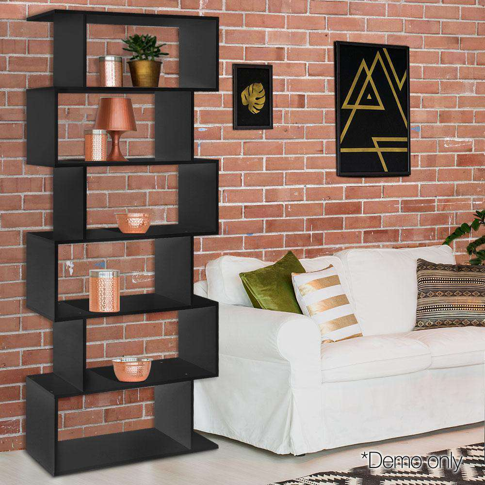 6 Tier Display Shelf Black - Desirable Home Living