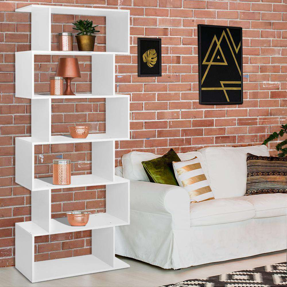 6 Tier Display Shelf White - Desirable Home Living