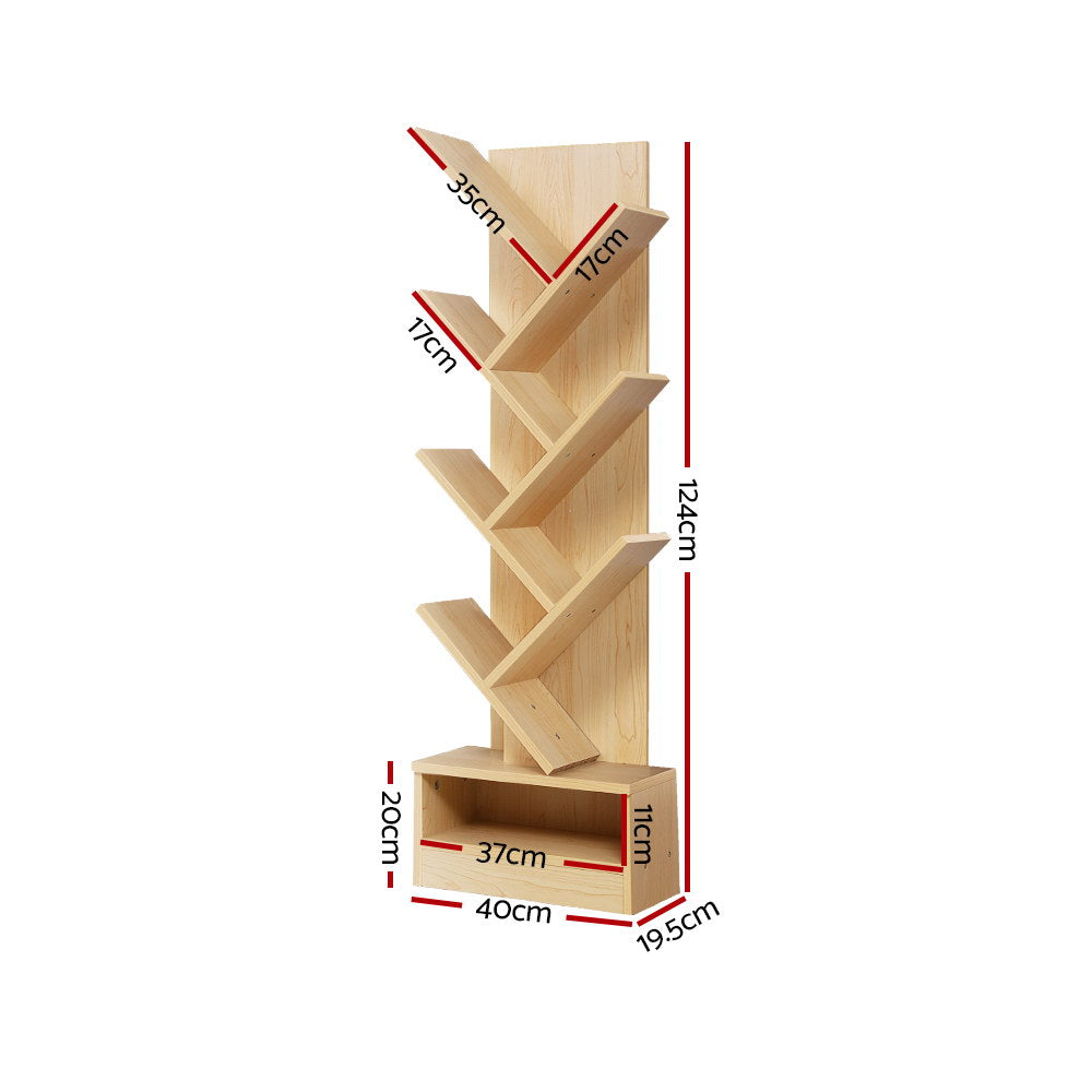 Artiss Display Shelf 7-Shelf Tree Bookcase Natural