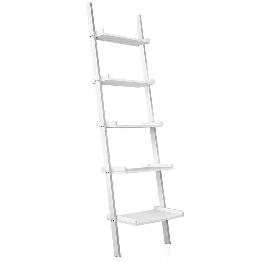 5 Tier Wall Ladder Shelf White