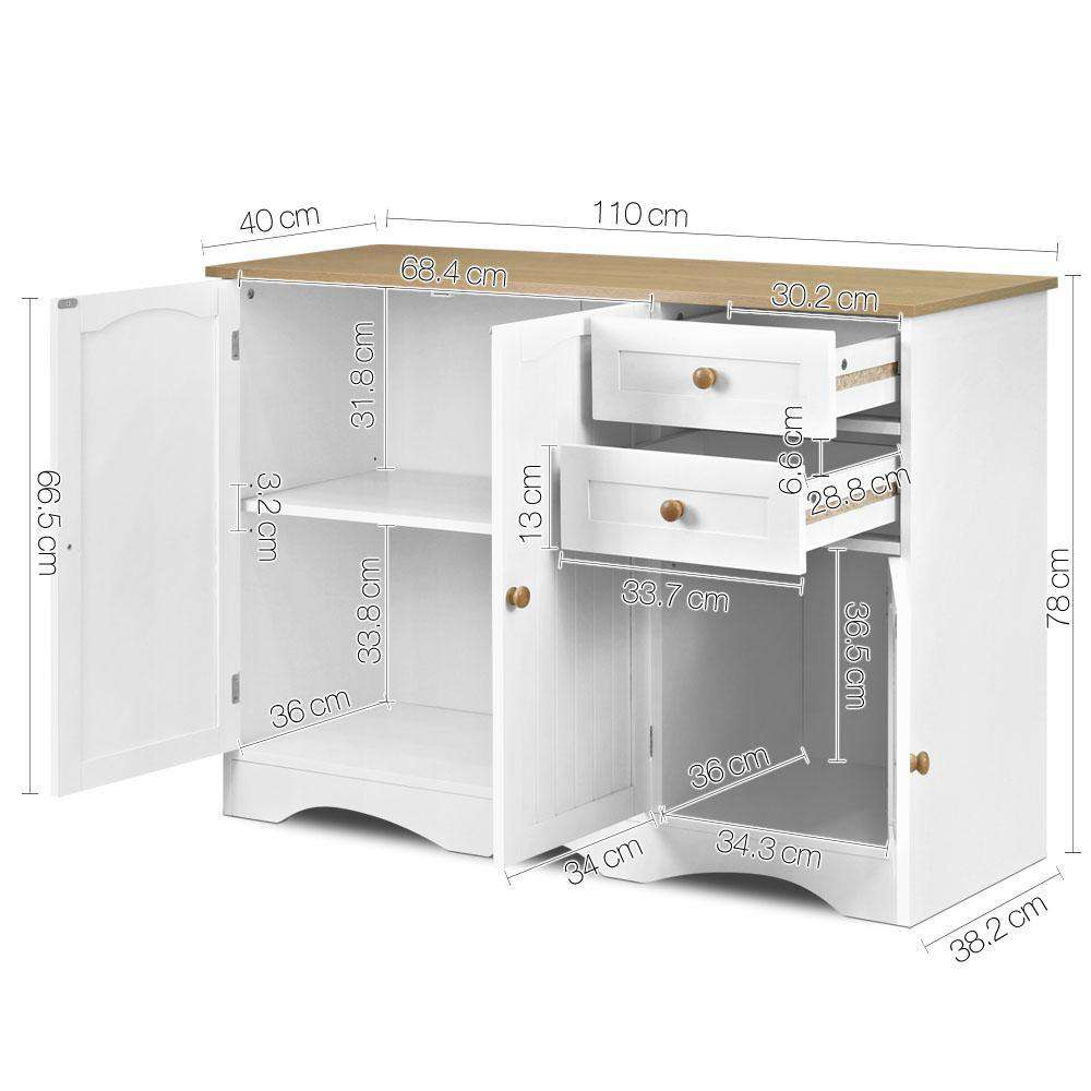 Kitchen Storage Buffet with Shelf - White and Light Brown - Desirable Home Living