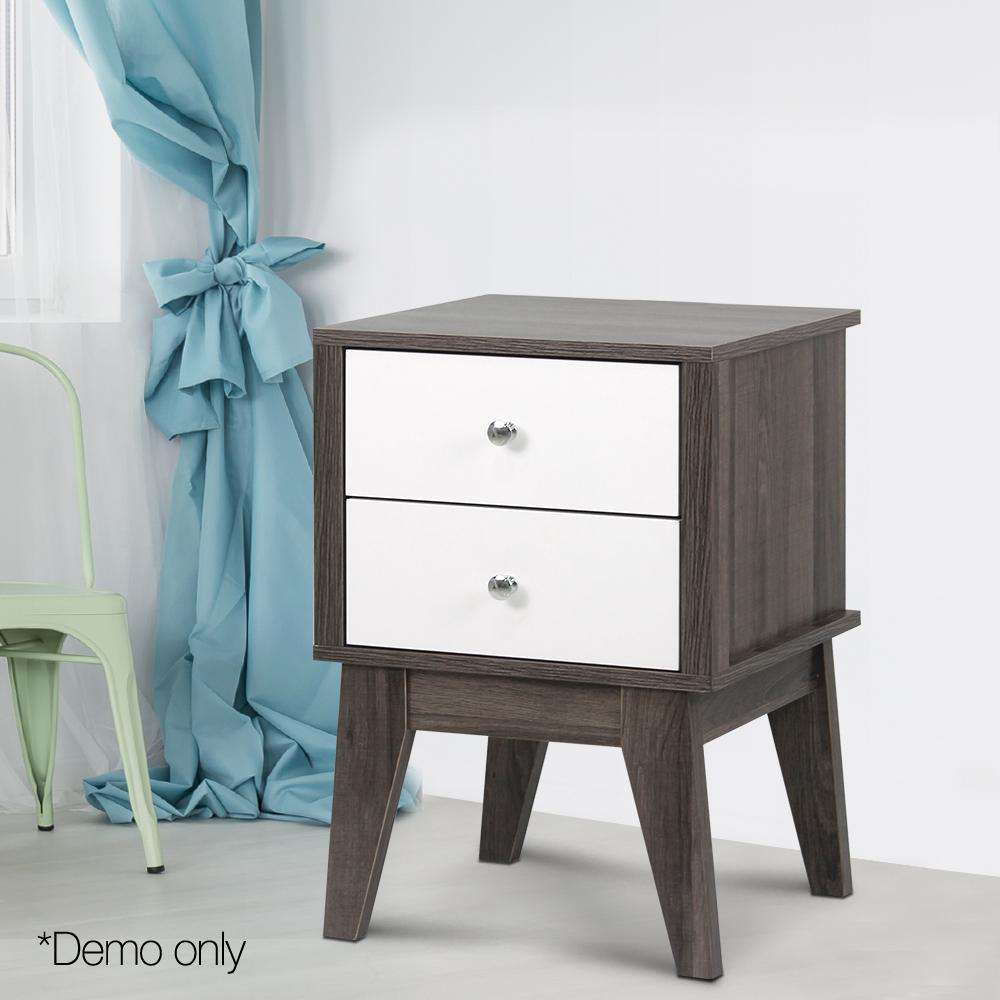 Artiss Bedside Table with Drawers - White & Dark Grey