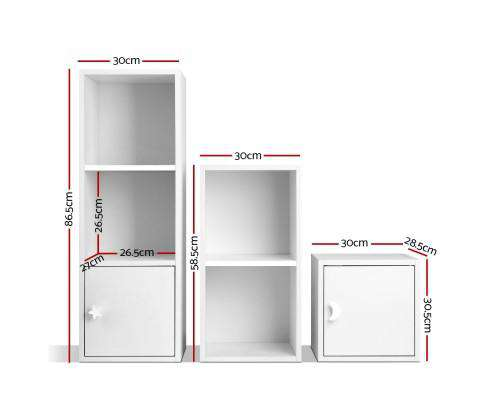 Artiss 6 Cube Display Shelf Bookcase 2 Doors Storage Cabinet White