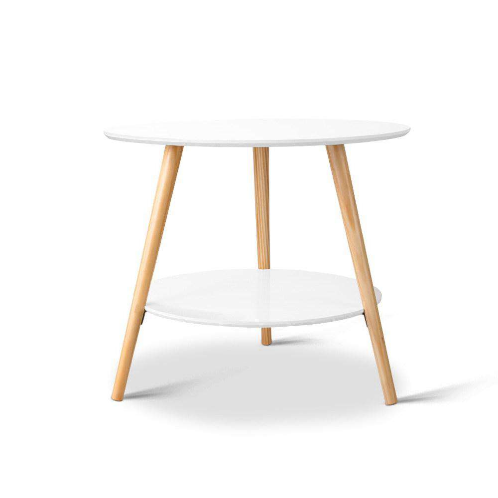 Artiss 2 Tier Side Table - White