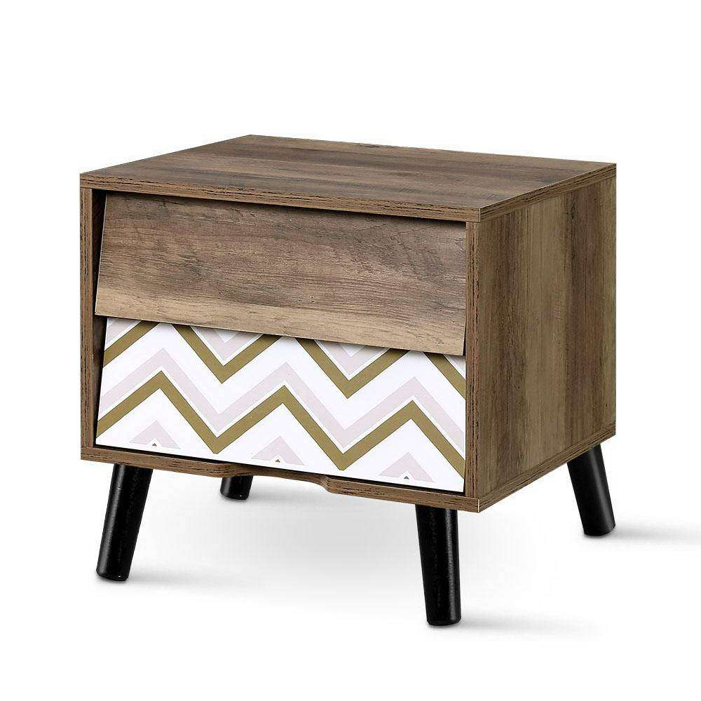 Artiss Bedside Tables 2 Drawers Table Storage Nightstand Cabinet Lamp Side Wood