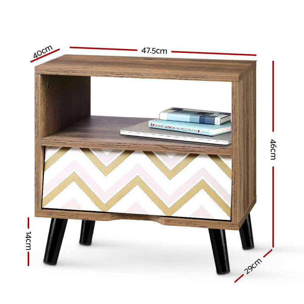 Artiss Bedside Tables Drawer Storage Cabinet Nightstand Chest Style Side Table