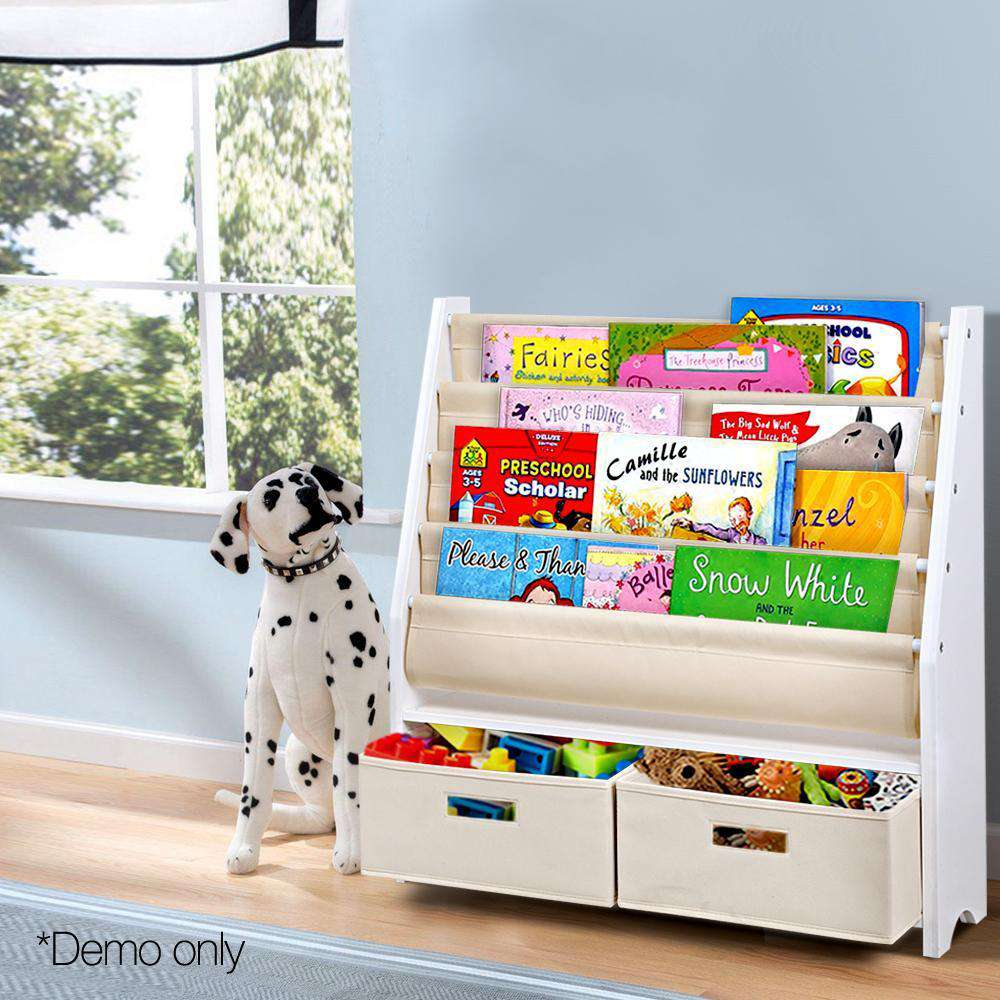 Artiss 4 Tier Wooden Kids Bookshelf - White
