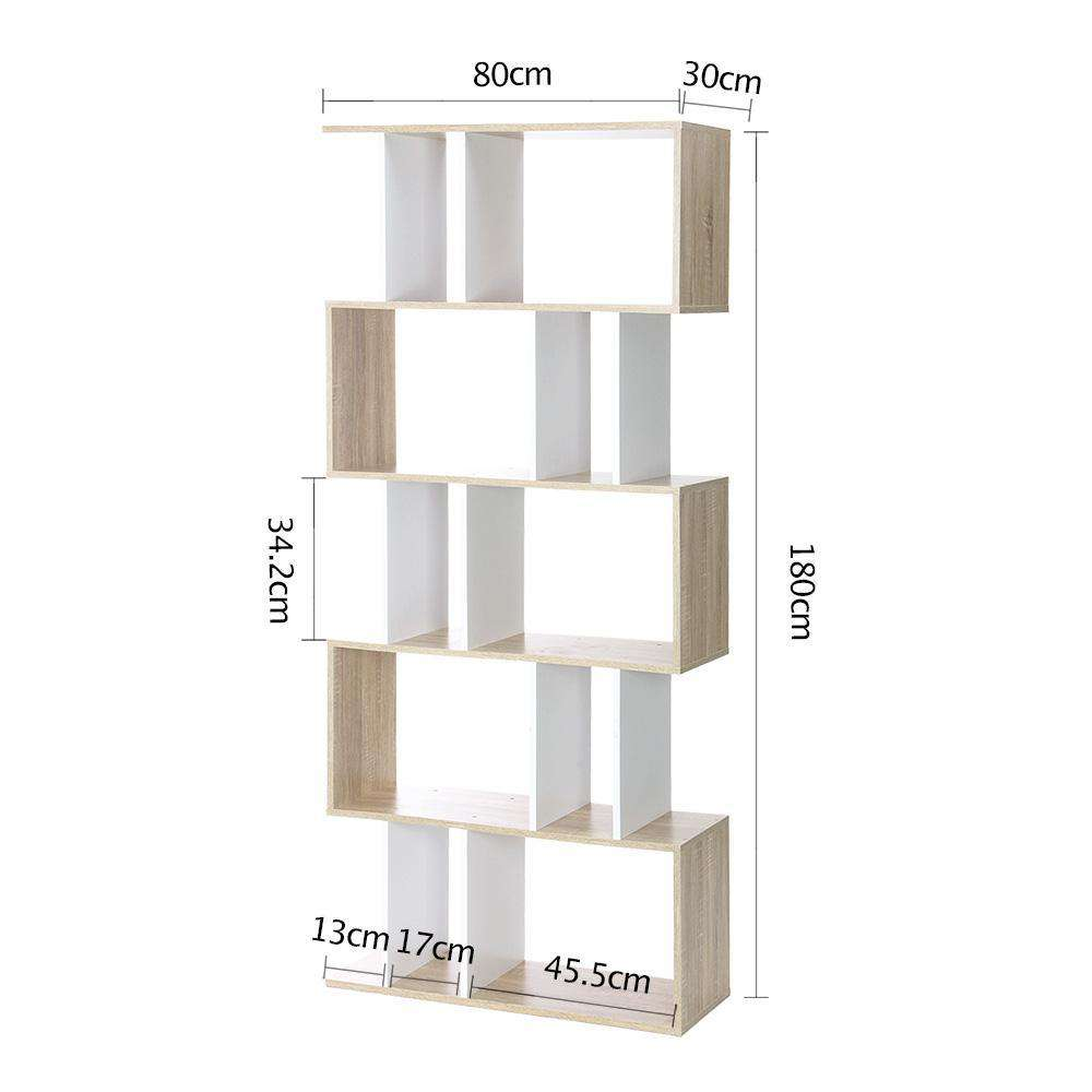 Artiss 5 Tier Display Book Storage Shelf Unit - White Brown