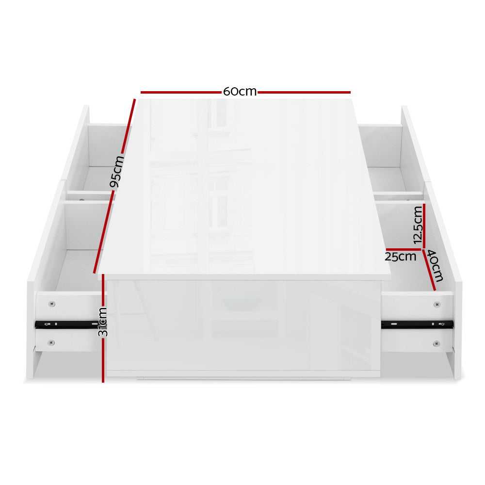 Artiss Modern Coffee Table 4 Drawer High Gloss White