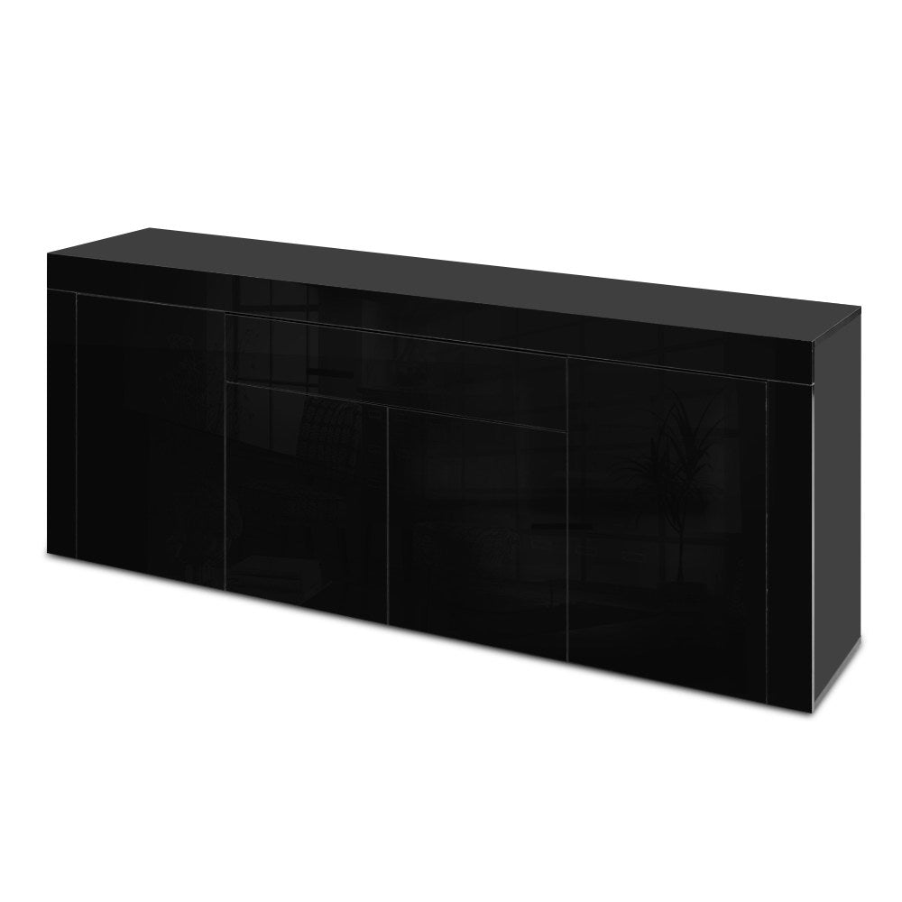 Artiss Sideboard Buffet High Gloss Storage Cabinet 4 Doors Cupboard Hall Black