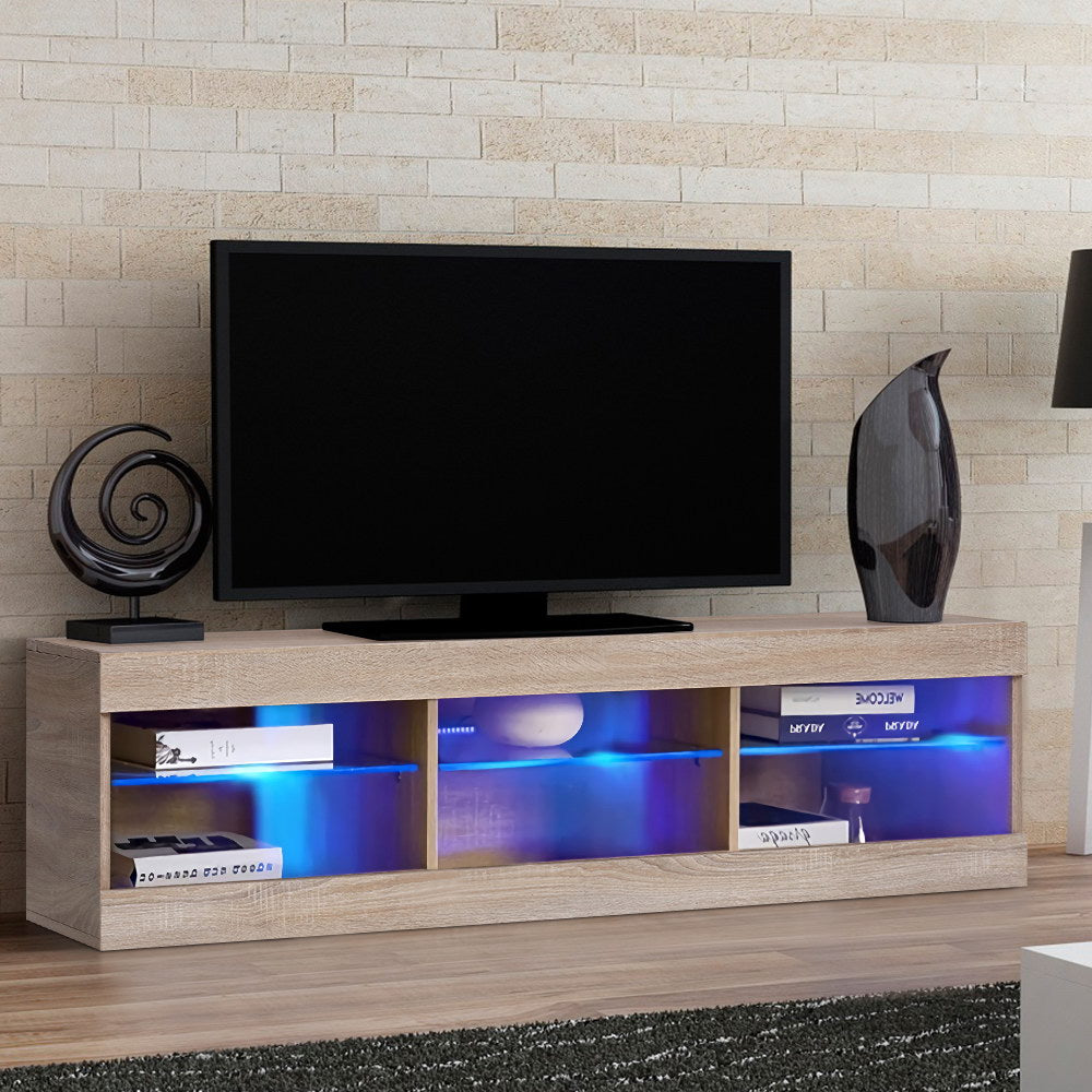 Artiss Entertainment Unit RGB LED Glass Shelf Storage 150cm Oak