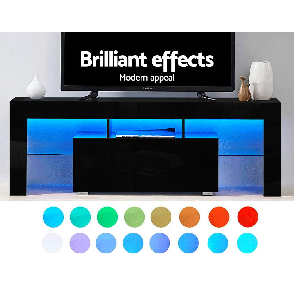 Artiss Entertainment Unit Stand RGB LED Gloss Furniture 130cm Black