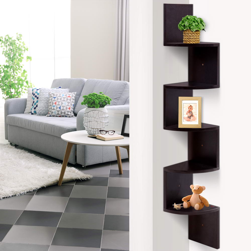 Artiss 5 Tier Corner Wall Floating Shelf Brown