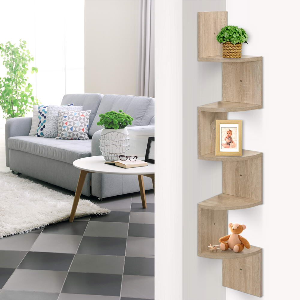 Artiss 5 Tier Corner Wall Floating Shelf Oak