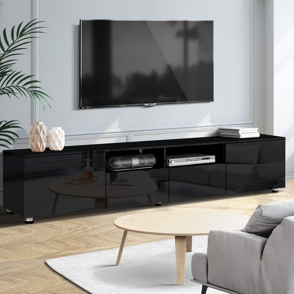 Artiss Entertainment Unit High Gloss Furniture 205cm Black