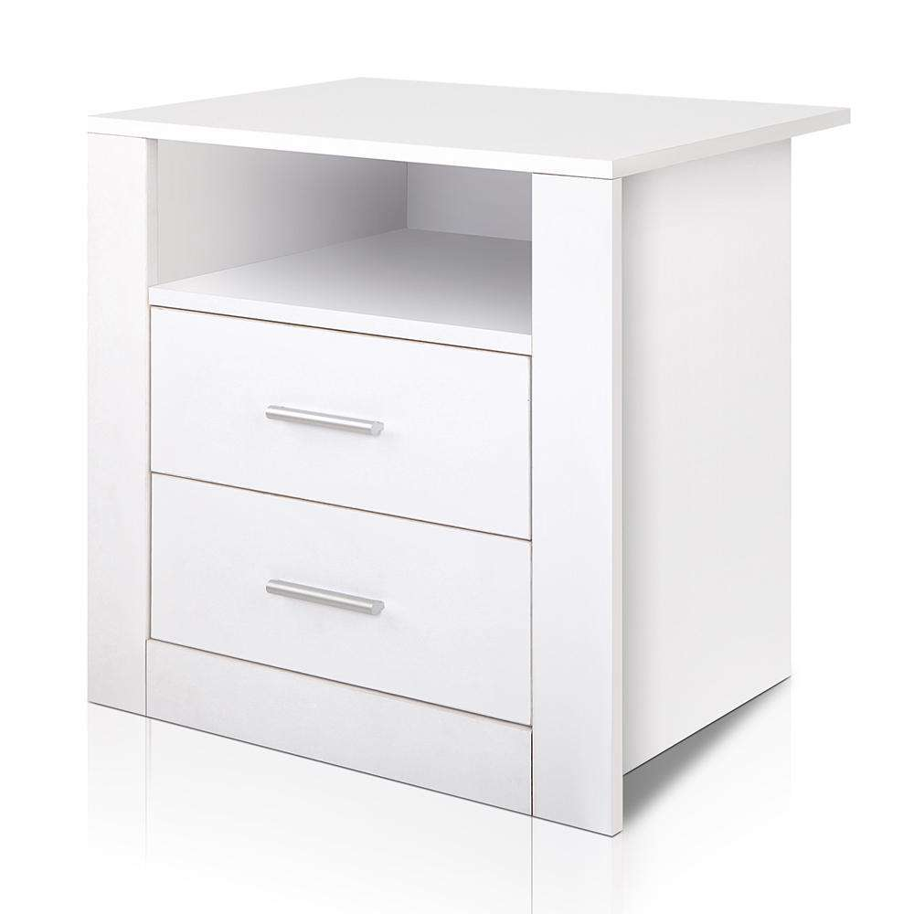 Artiss Anti-Scratch Bedside Table 2 Drawers - White