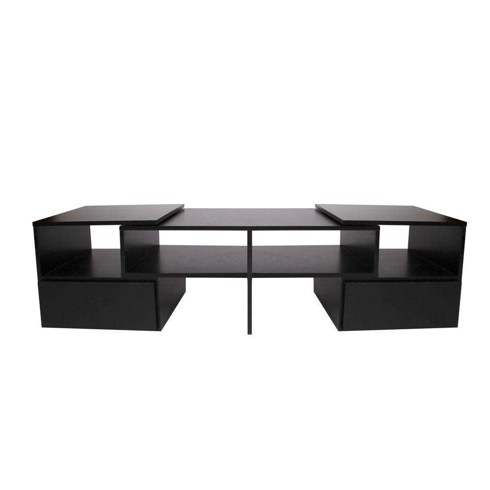 TV Stand Entertainment Unit Adjustable Cabinet Black - Desirable Home Living