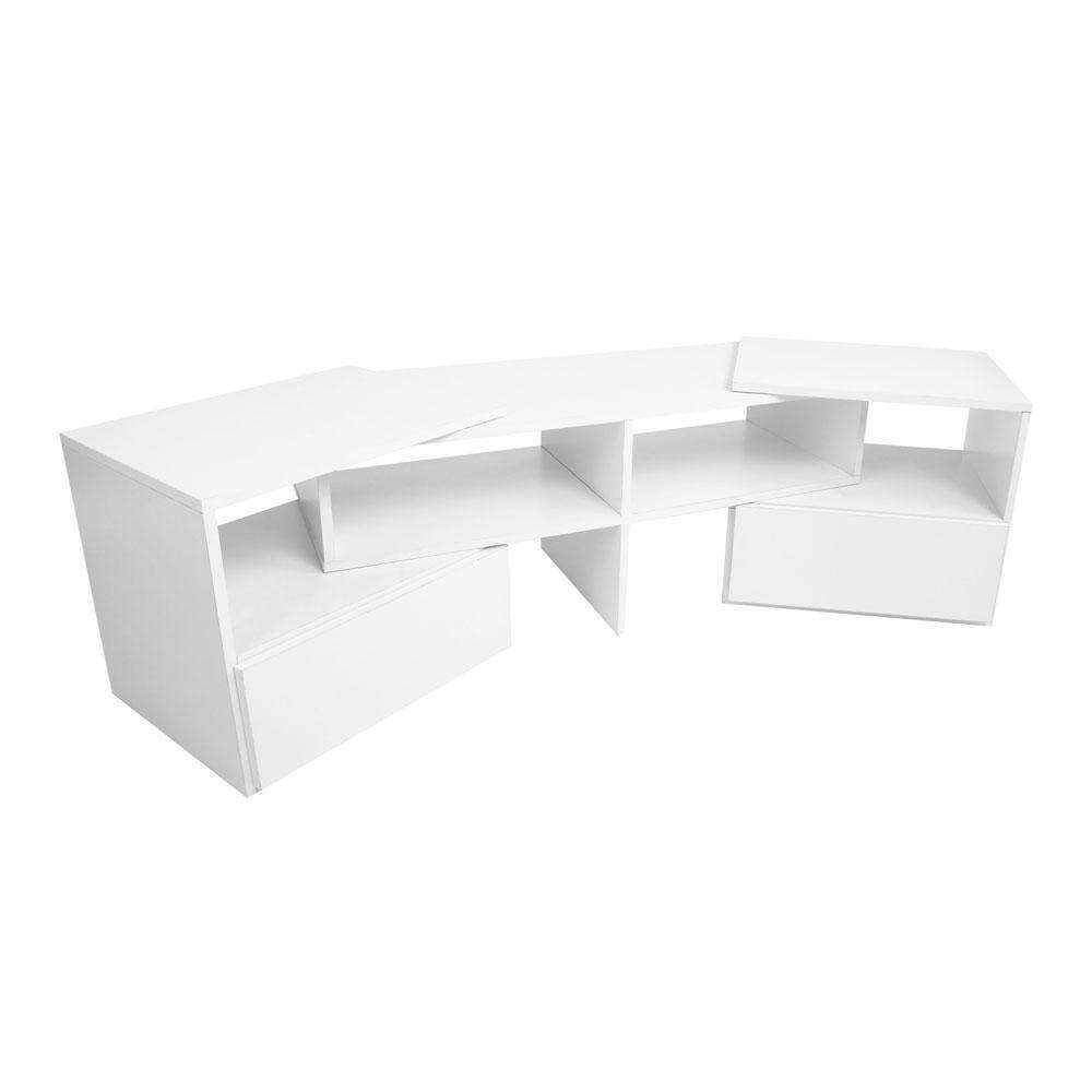 TV Stand Entertainment Unit Adjustable Cabinet White - Desirable Home Living