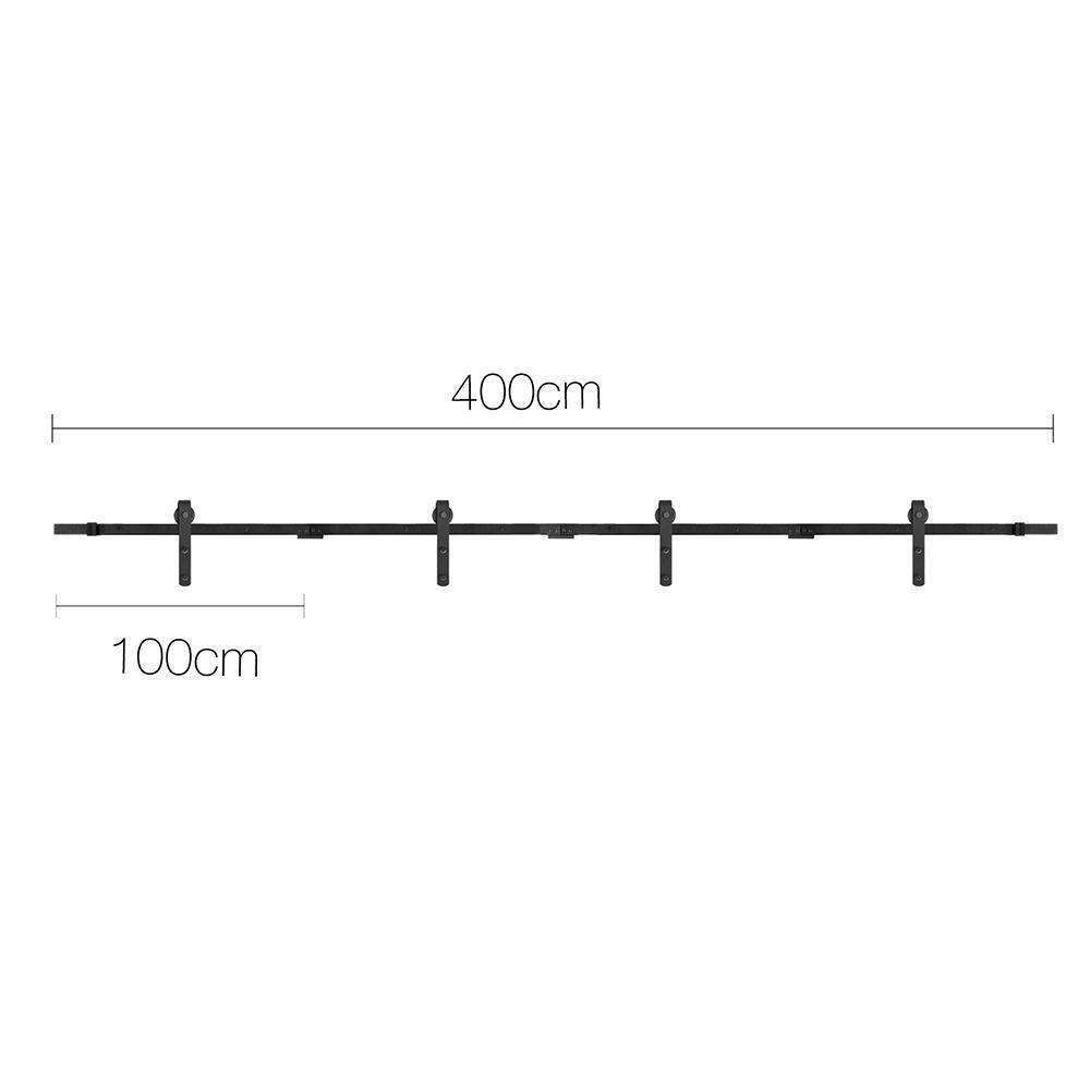 Sliding Barn Door Hardware Track Set Powder Coat Steel Black - 4M - Desirable Home Living
