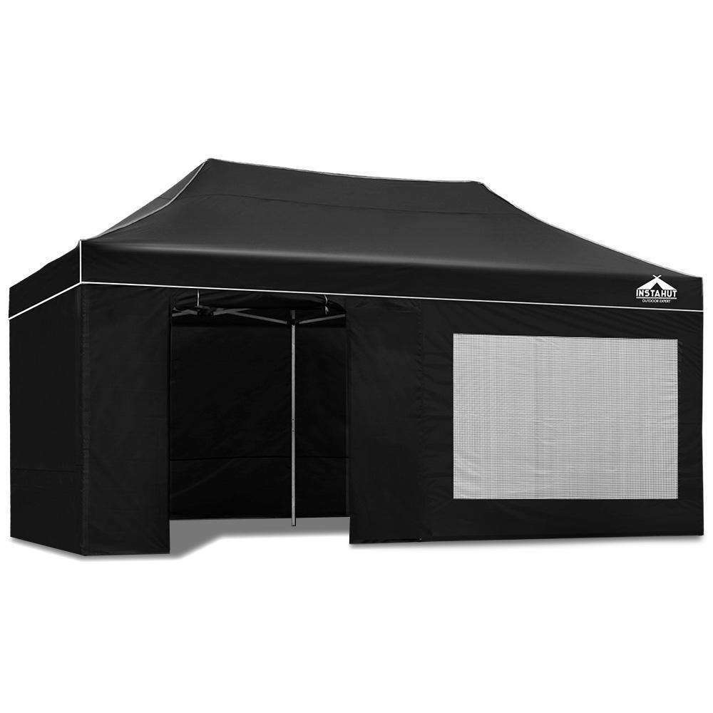 Instahut Aluminium Pop Up Gazebo Outdoor Folding Marquee Tent 3x6m Black