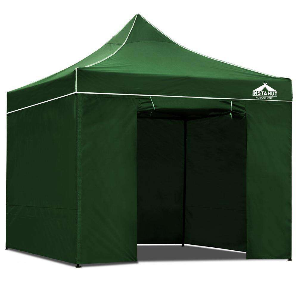 3x3 Pop Up Gazebo Hut with Sandbags Green
