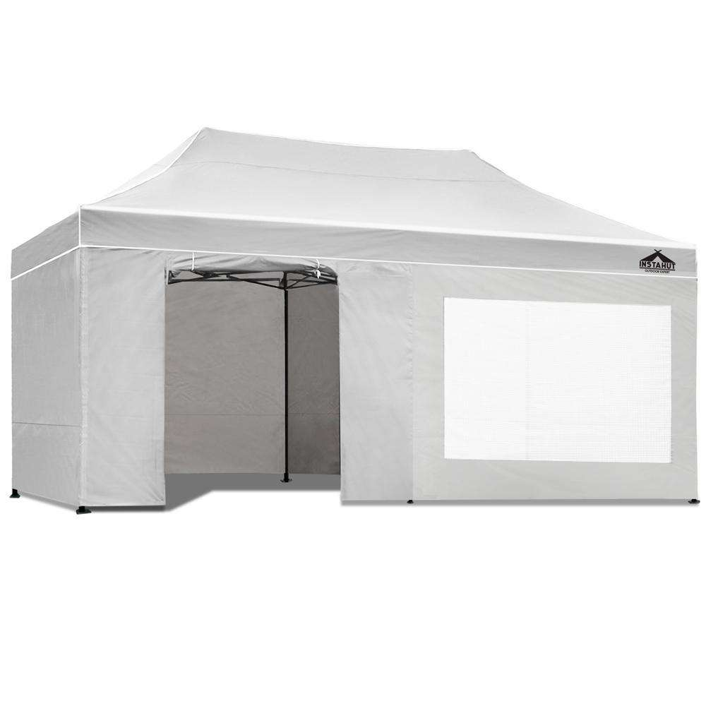 3x6 Pop Up Gazebo Hut with Sandbags White