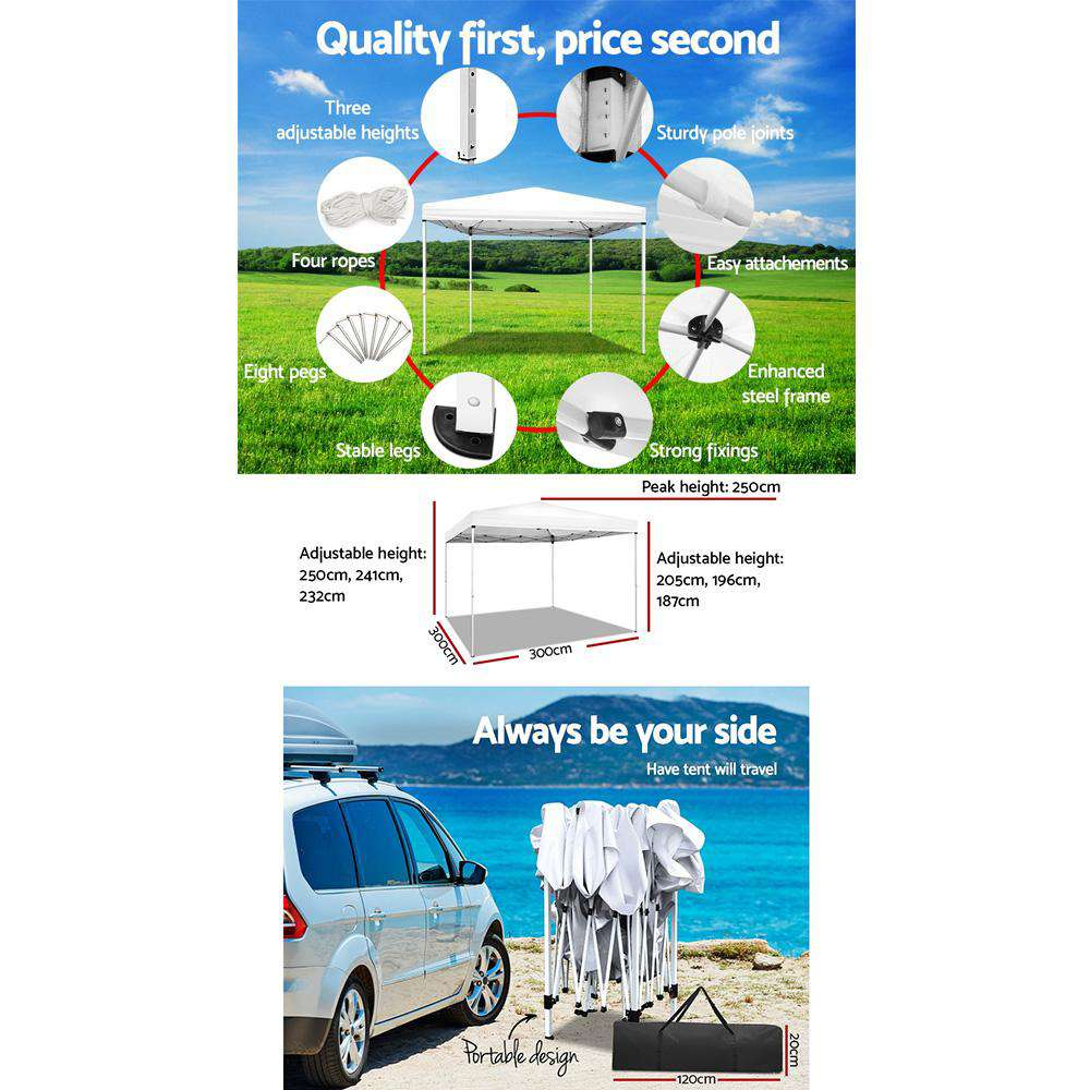 Instahut 3x3m Pop Up Gazebo Outdoor Marquee Tent Wedding Party Canopy White