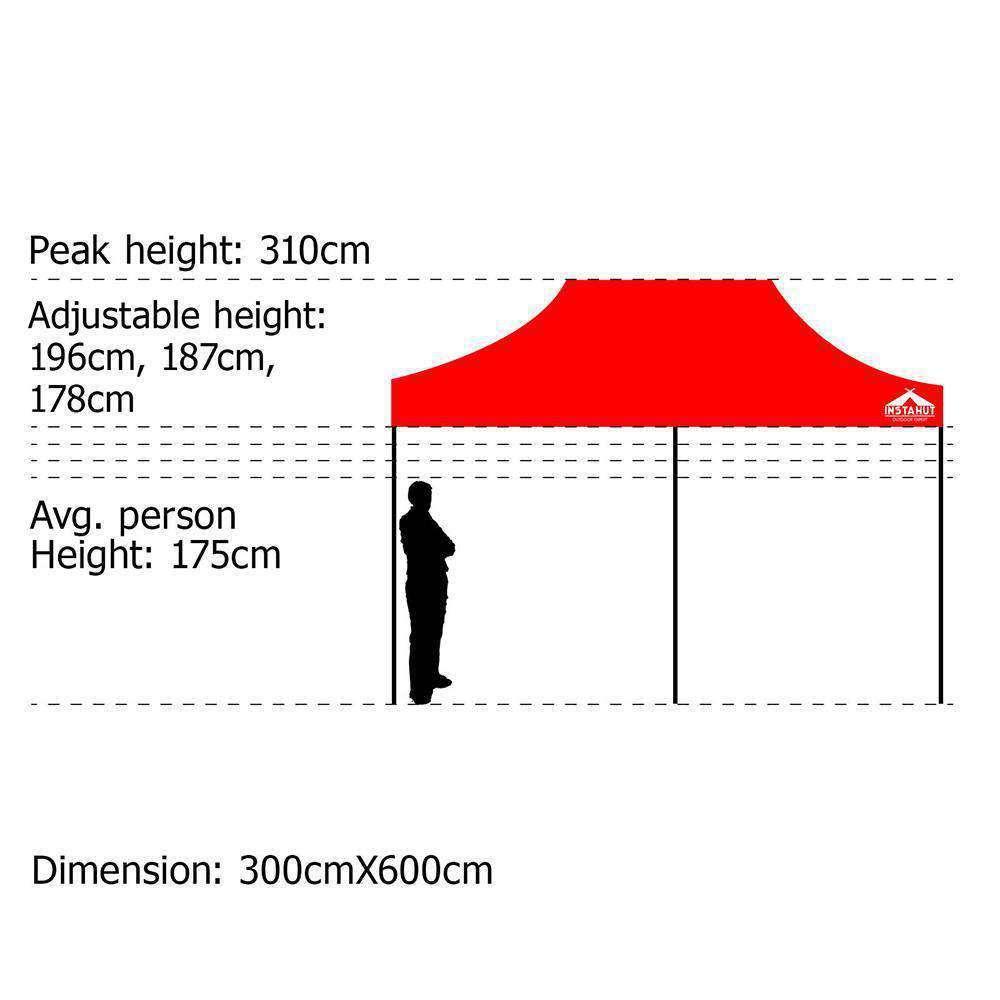 INSTAHUT 3X6M Pop Up Gazebo - Red - Desirable Home Living