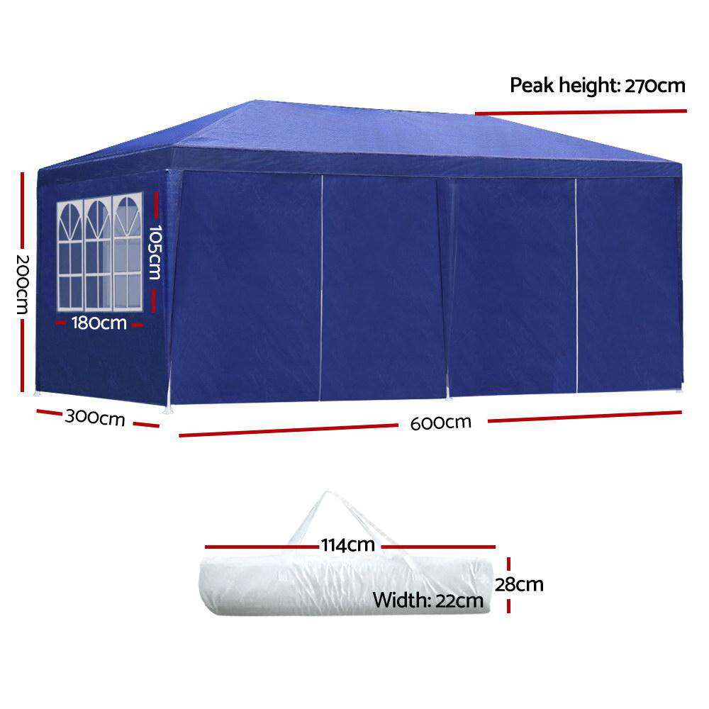Instahut 3x6m Gazebo Tent Party Wedding Marquee Event Outdoor Camping Blue 6 Panels