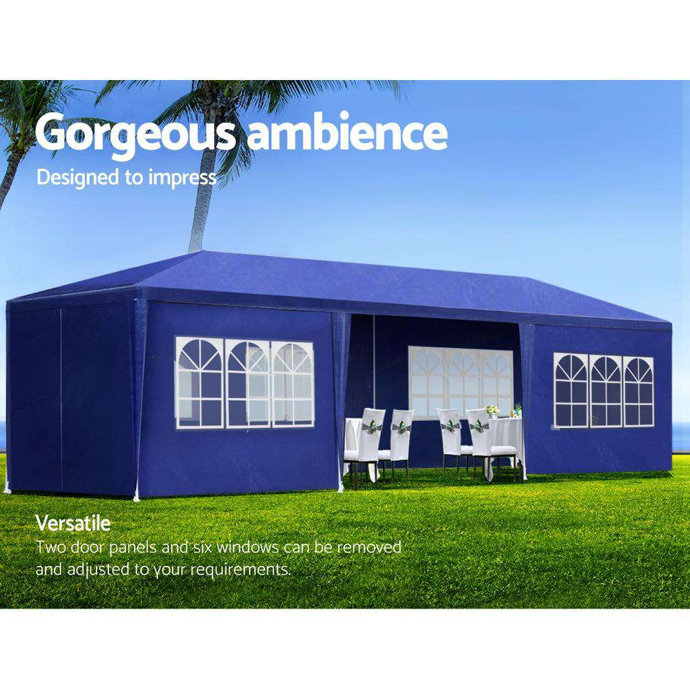 Instahut 3x9m Gazebo Tent Party Wedding Marquee Event Outdoor Camping Blue 6 Panels