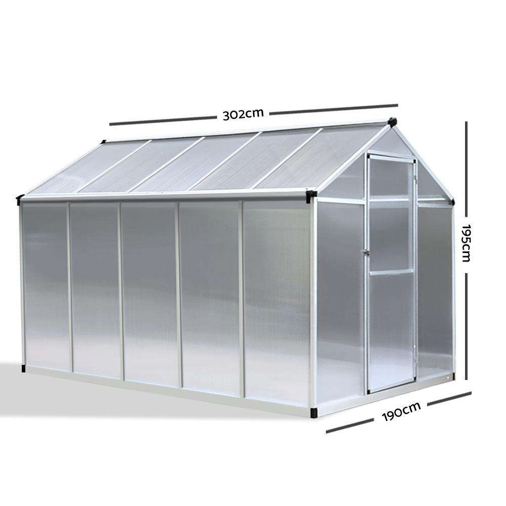 Green Fingers 3 x 1.9m Polycarbonate Aluminium Greenhouse