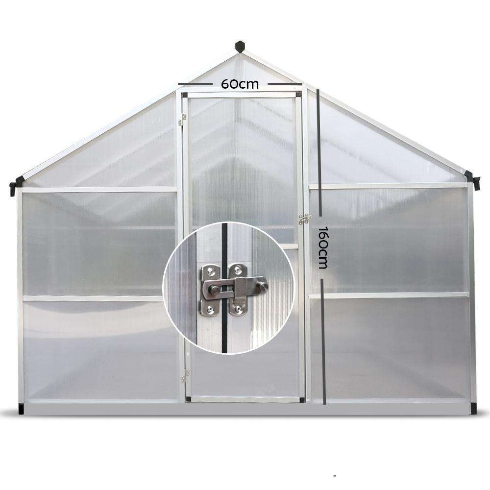 Green Fingers 3 x 2.5m Polycarbonate Aluminium Greenhouse