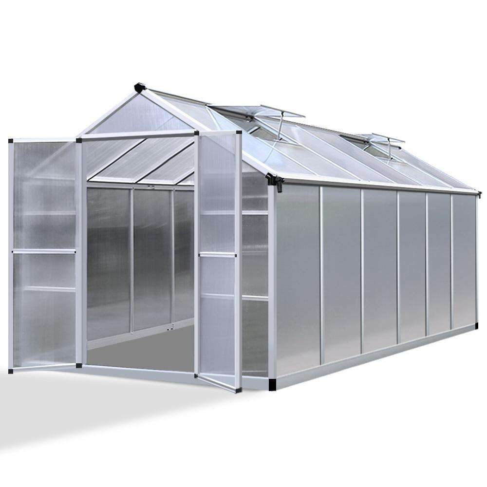 3.7 x 2.5M Polycarbonate Aluminium Green House